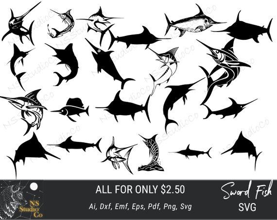 570x453 Swordfish Svg Marlin Svg Swordfish Clipart Swordfish Cut Etsy