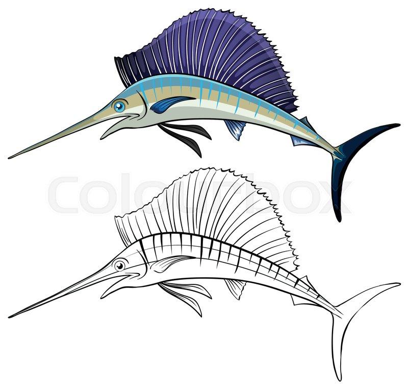 800x762 Animal Doodle Outline For Swordfish Illustration Stock Vector