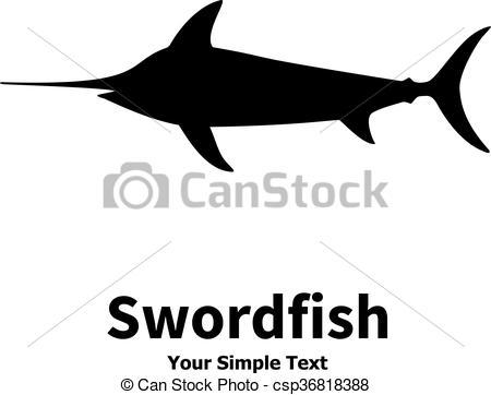 450x362 Vector Illustration Silhouette Of Swordfish. Isolated On White