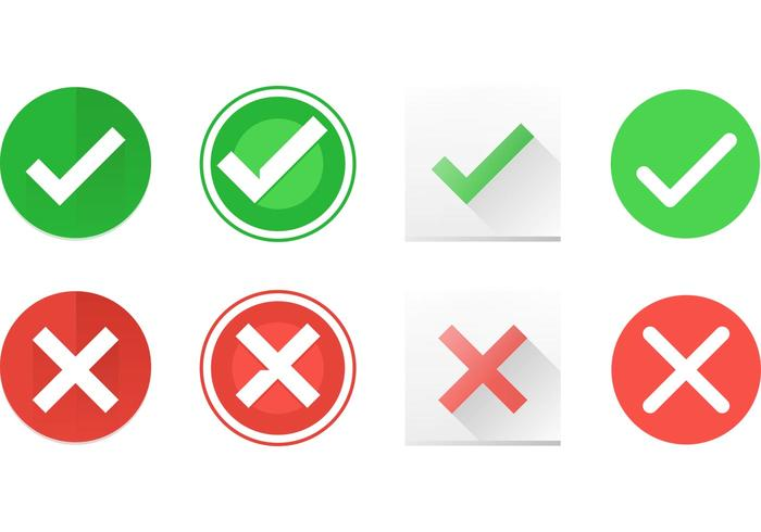 700x490 Correct And Incorrect Symbol Vector Icons