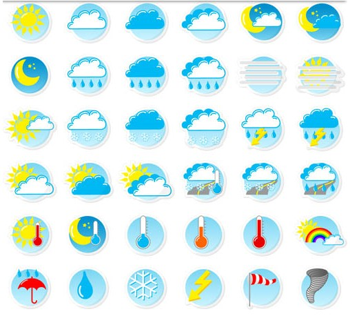 508x458 Colorful Weather Symbols Vector Ai Format Free Vector Download