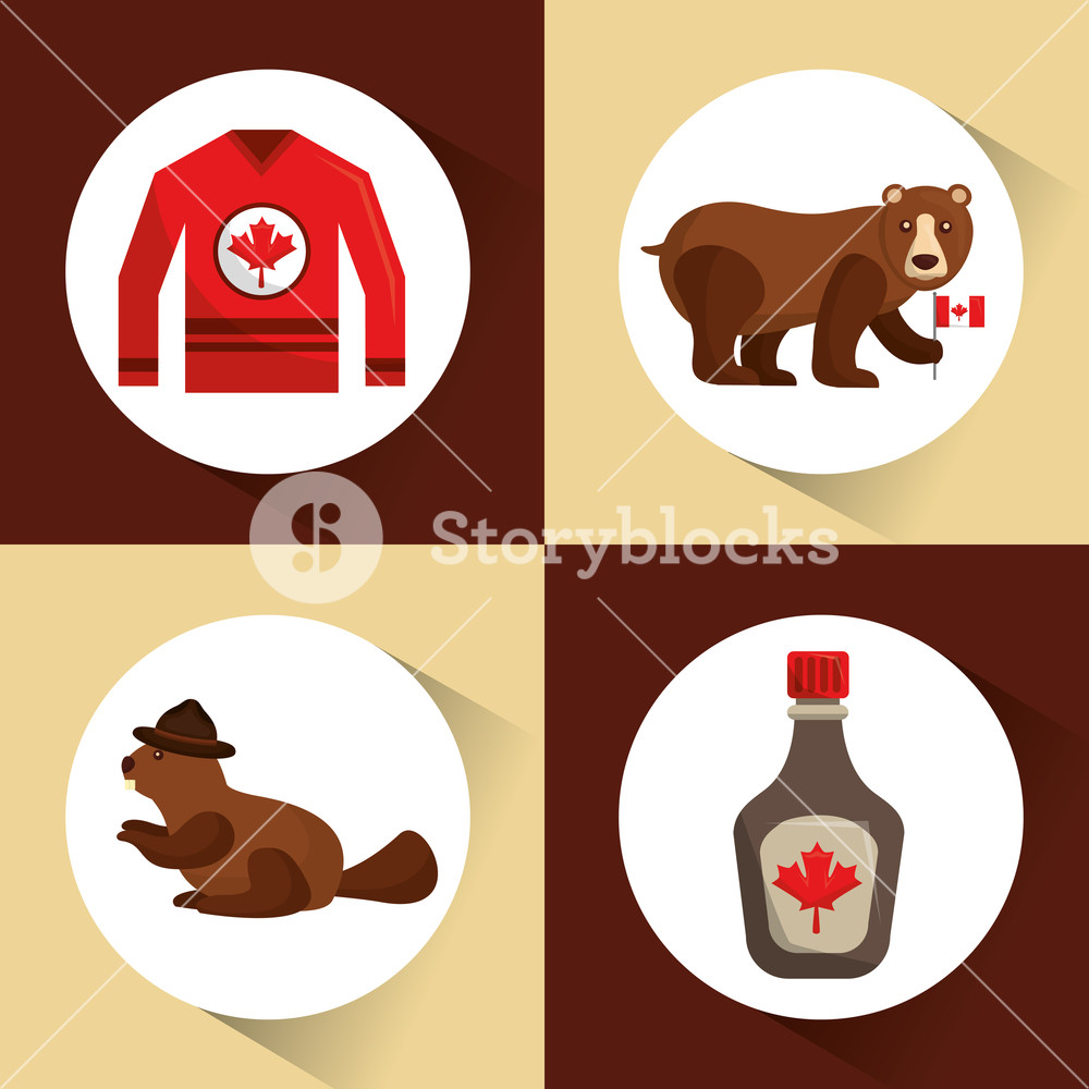 1000x1000 Canada Collection Bear Beaver Jersey And Maple Syrup Vector