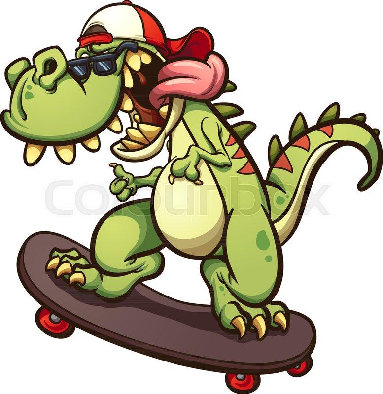 777x800 Rad Cartoon Skateboarding T Rex. Vector Clip Art Illustration With