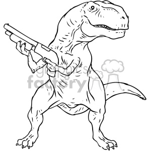300x300 Royalty Free Trex With A Gun Character Vector Book Illustration