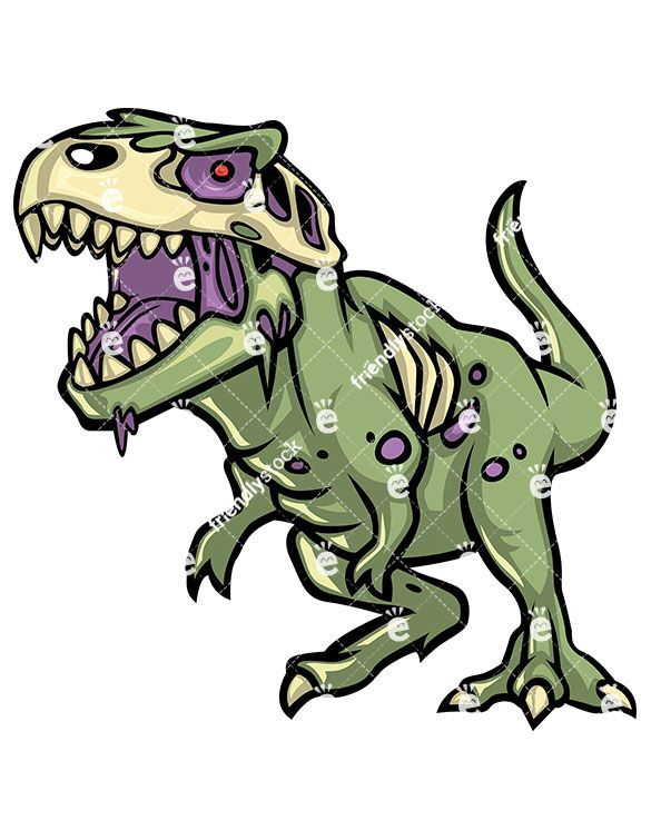 585x755 T Rex Dinosaur Zombie Cartoon Clipart With Commercial License