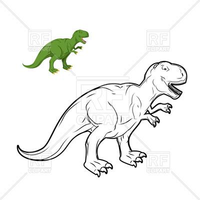 400x400 Tyrannosaurus Rex Dinosaur Coloring Book Vector Image Vector
