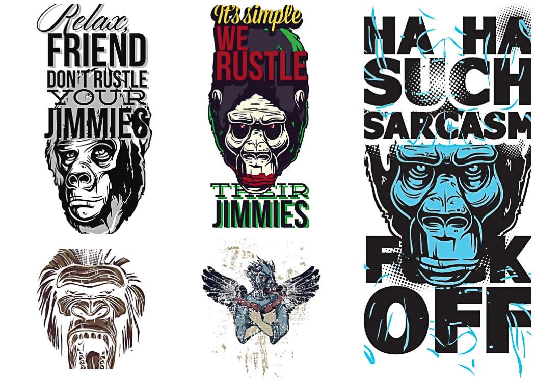 1050x750 Apes Prints T Shirt Vector Set Free Download