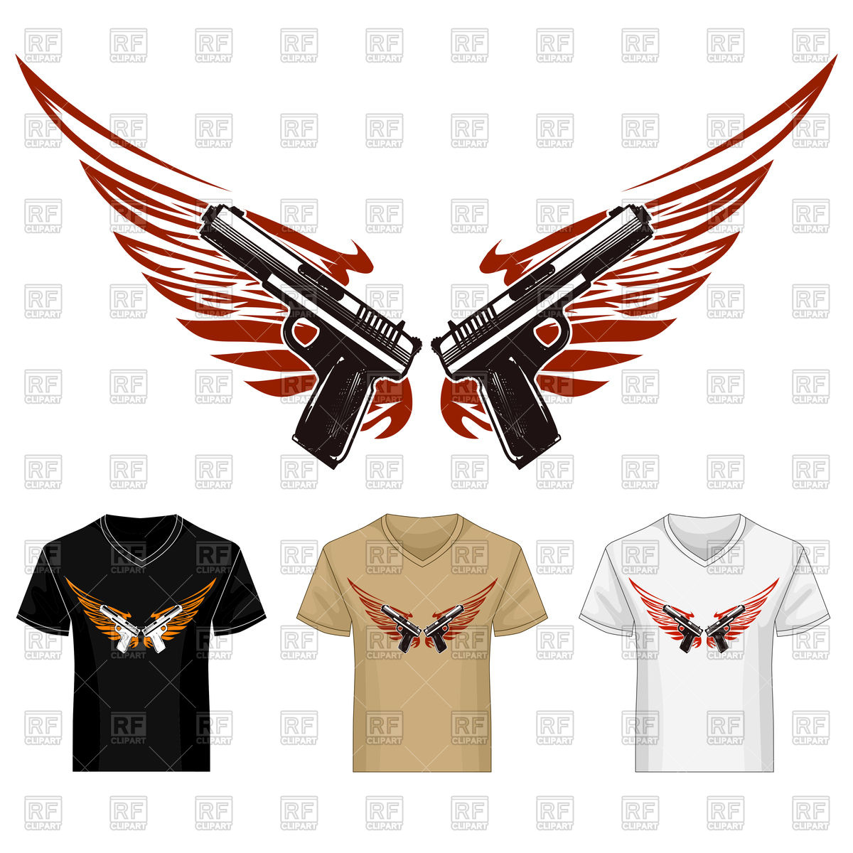 1200x1200 Two Guns With Wings