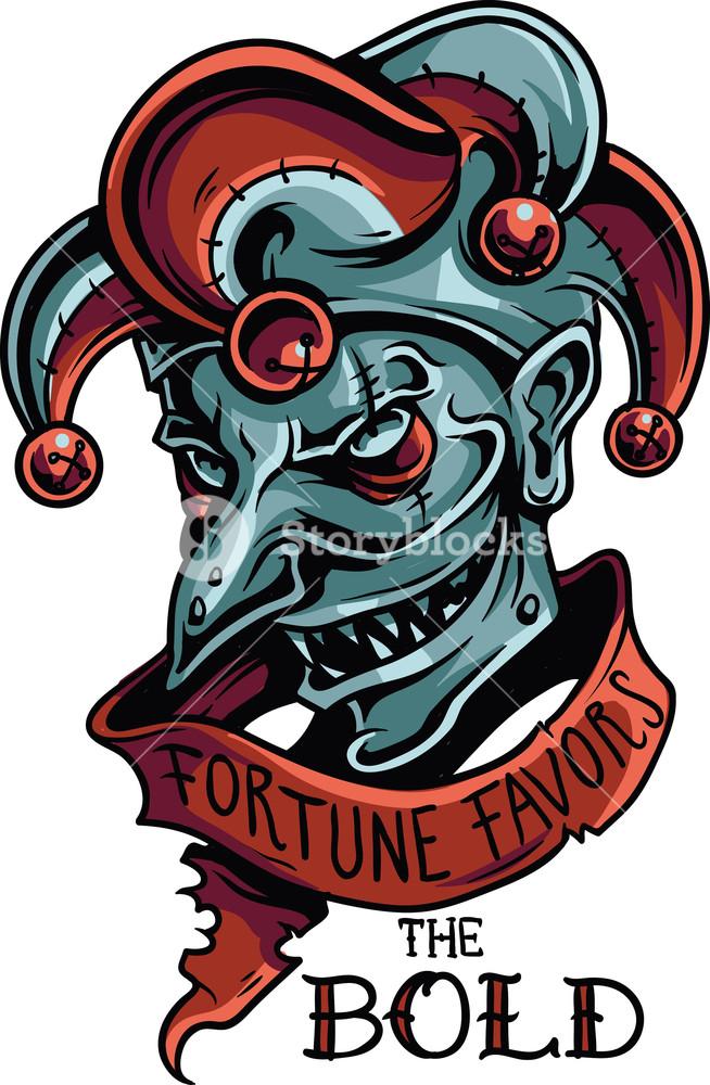 654x1000 Vector T Shirt Design With Evil Joker Royalty Free Stock Image