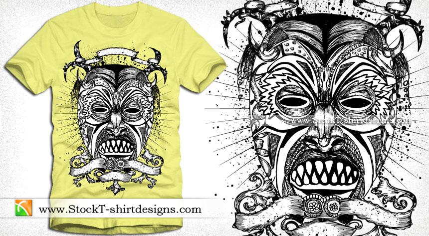 860x473 Vector T Shirt Design With Demon Man Face Vector T Shirt Designs