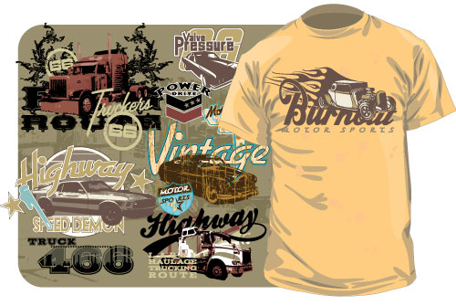 500x335 Free Vector T Shirt Designs Vintage Cars And Trucks T Shirt Design