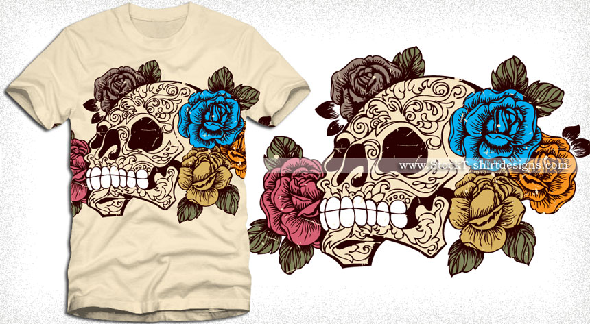 860x473 Sugar Skull With Roses T Shirt Design Vector Vector T Shirt
