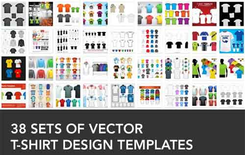 500x316 T Shirt Design Templates 38 Sets Free Editable Vectors