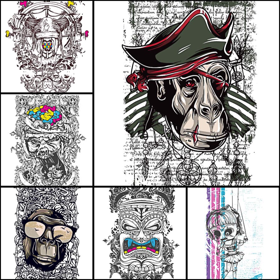 900x900 T Shirt Print Demons Vector Set Free Download