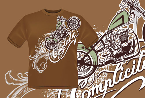 500x340 Vintage Car Elements T Shirt Design Vector 05 Free Download