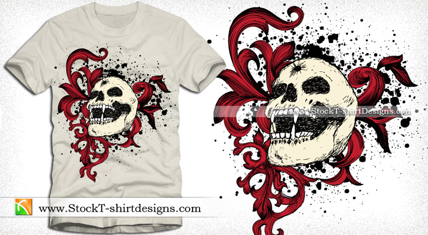 860x473 Vector Graphics T Shirt Design With Skull And Floral Vector T