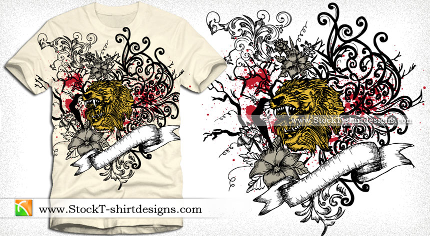 860x473 Vector T Shirt Graphics With Lion Head, Ribbon And Floral Vector