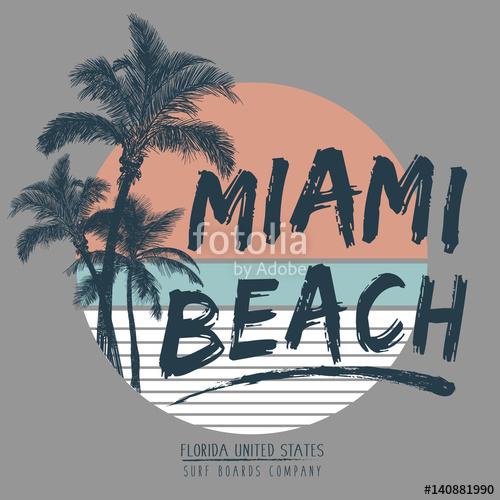 500x500 Tropical Miami. Typography, T Shirt Graphics, Vectors Stock Image