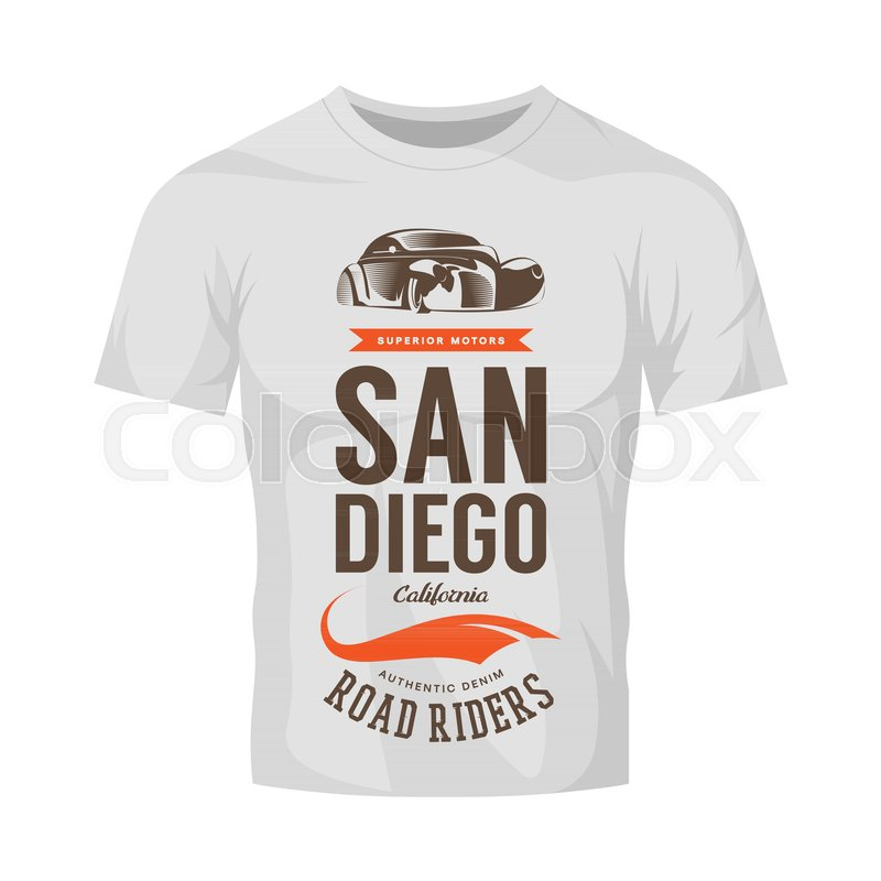 800x800 Vintage Classic Vehicle Vector Logo On White T Shirt Mock Up