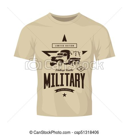 450x470 Vintage Military Truck Vector Logo Isolated On Brown T Shirt Mock