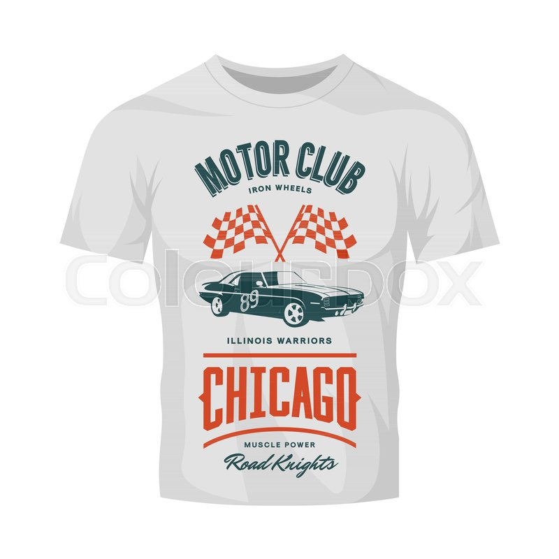 800x800 Vintage Muscle Vehicle Vector Logo Isolated On White T Shirt Mock