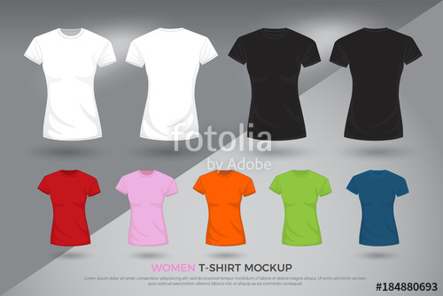 500x335 Women T Shirt Mockup, Set Of Black, White And Colored T Shirts
