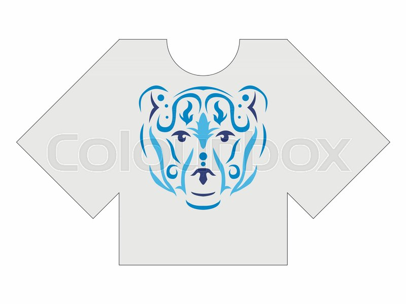 800x600 Tribal Bear Men Tshirt Mockup, Brown Bear In Tribal Style, Animal