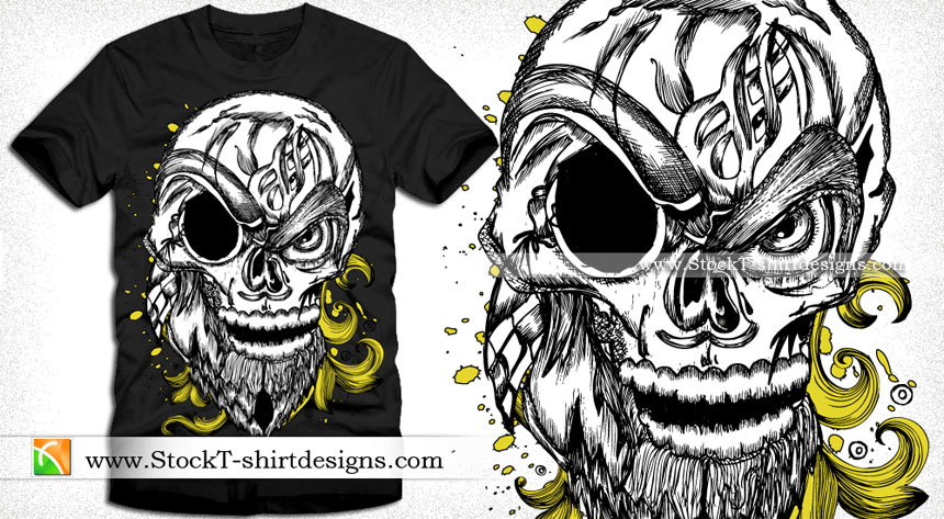 860x473 Skull With Floral Vector Art Tee Design Vector T Shirt Designs