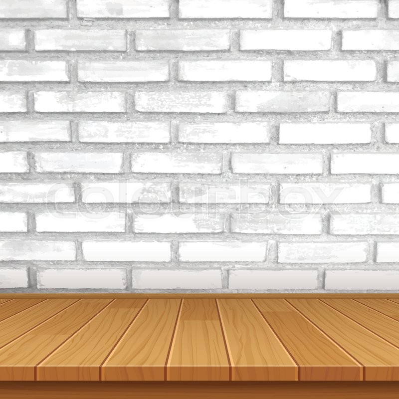 800x800 Vector Wood Table Top On Brick Wall Background Stock Vector