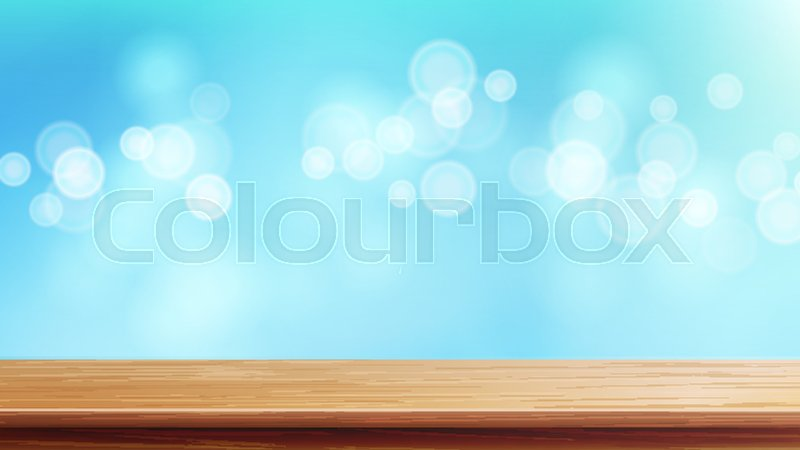 800x450 Wood Table Top Vector. Blue Bokeh Background. Empty Smooth Wooden