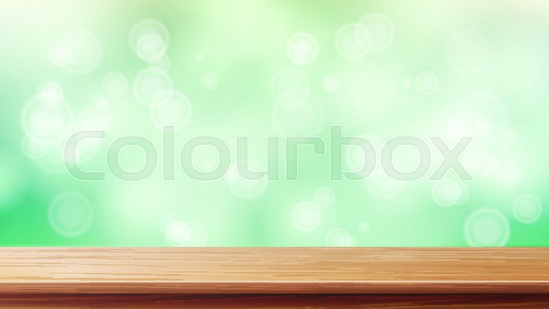 800x450 Wood Table Top Vector. Blur Spring Green Background. Empty Smooth