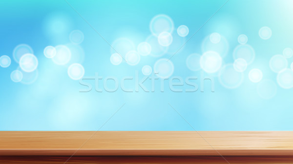 600x337 Wood Table Top Vector. Brown Bokeh Abstract Natural Background