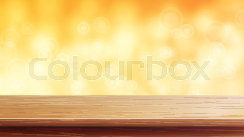 800x450 Wood Table Top Vector. Orange, Autumn, Yellow Bokeh Background