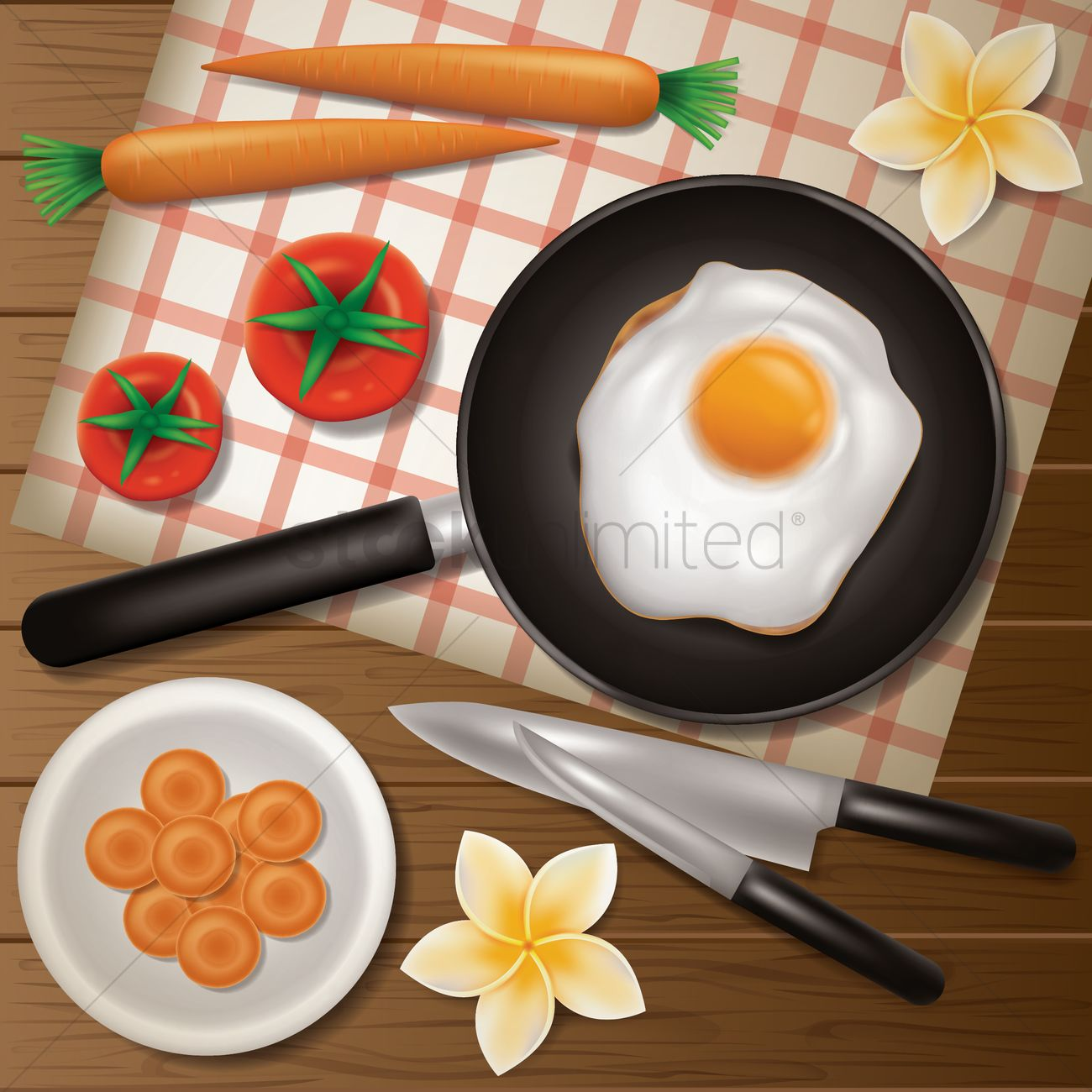 1300x1300 Flatlay Of Kitchen Tabletop Vector Image