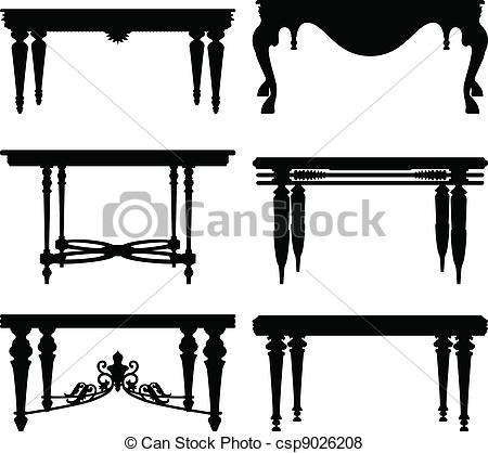450x418 Antique Ancient Classic Table. A Set Of Table Design In Silhouette.