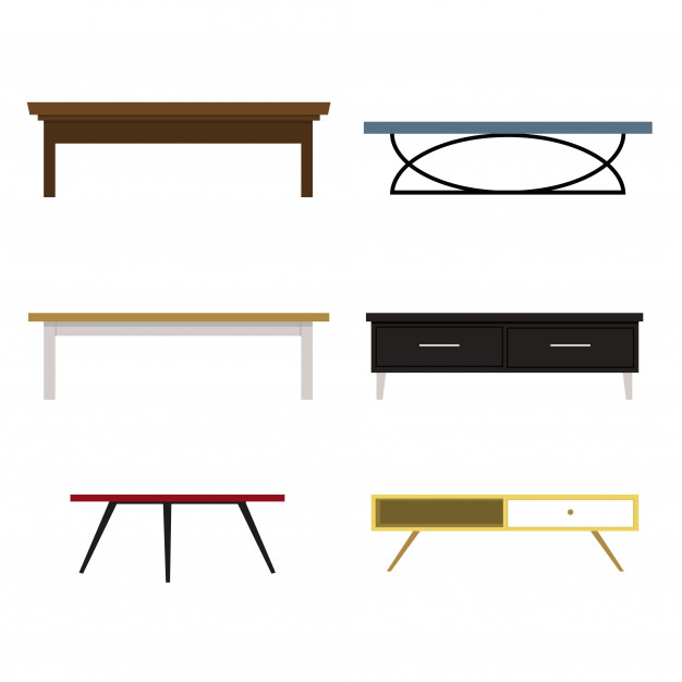 626x626 Set Of Different Shape Of Tables, Sofa Table Vector Illustration