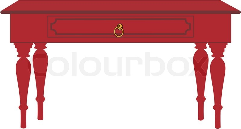 800x430 Vector Color Image Of Isolated Table With Cartoon Style Stock