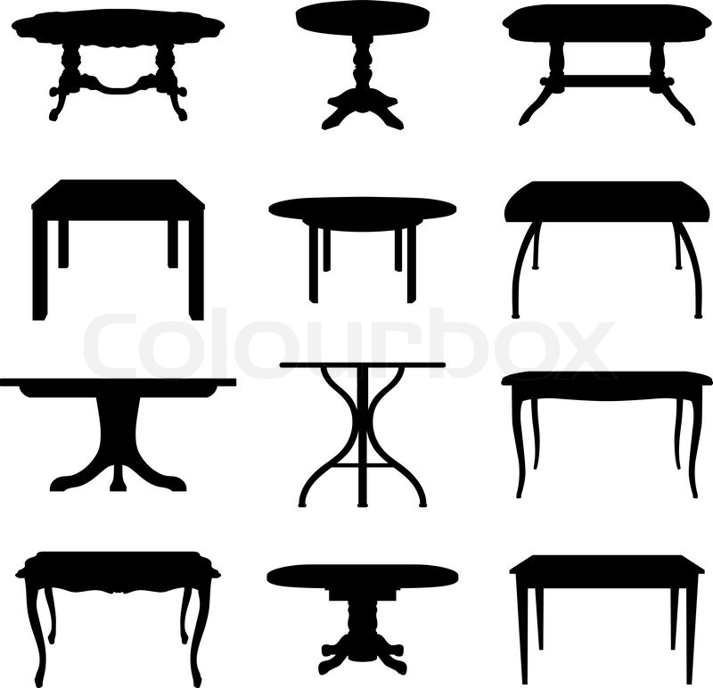 800x772 Collection Of Different Tables Silhouettes Vector Illustration