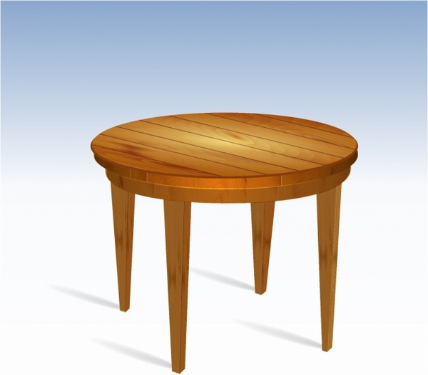 600x525 Empty Round Wood Table Free Vector In Adobe Illustrator Ai ( .ai