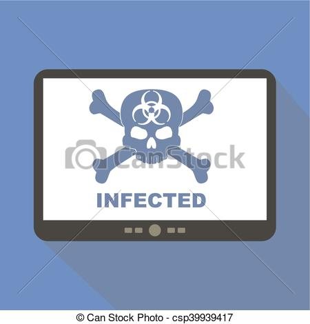 450x470 Infected Virus Alert Tablet Icon Vector Illustration.
