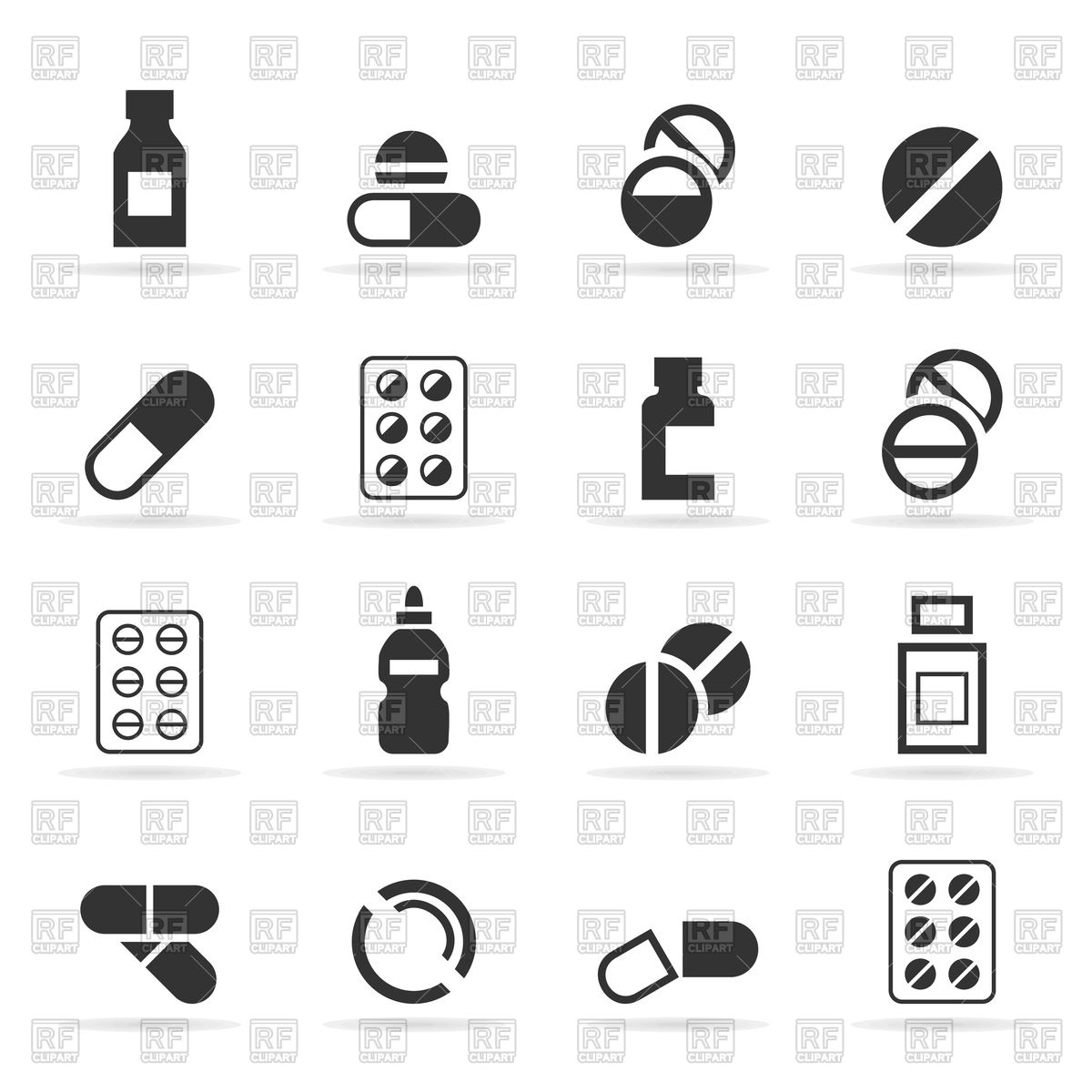 1200x1200 Set Of Tablet And Medicine Icons Vector Image Vector Artwork Of