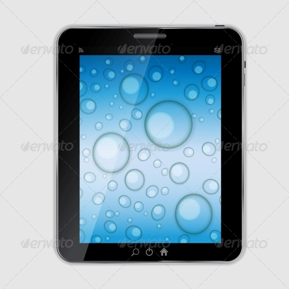 590x590 Tablet Icon Vector Illustration With Waterdrops By Yganko
