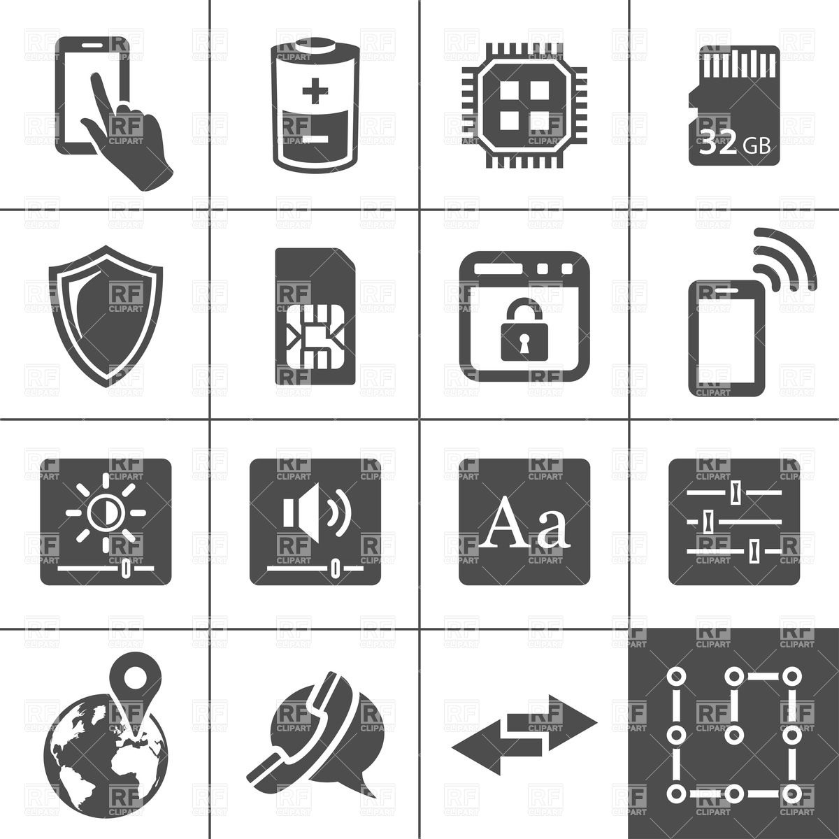1200x1200 Tablet Pc And Smart Phone Icons Vector Image Vector Artwork Of