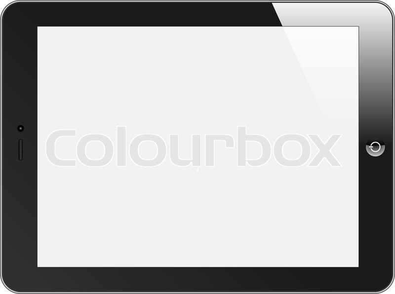 800x596 Realistic Tablet Pc With Blank Screen. Horizontal, Black. Isolated