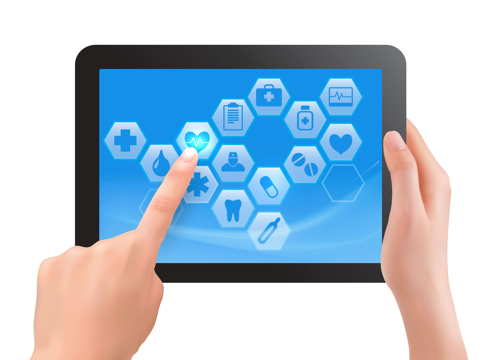 1648x1213 Two Hands Touch Screen Of Tablet With Medical Icons. Vector Cros Nt