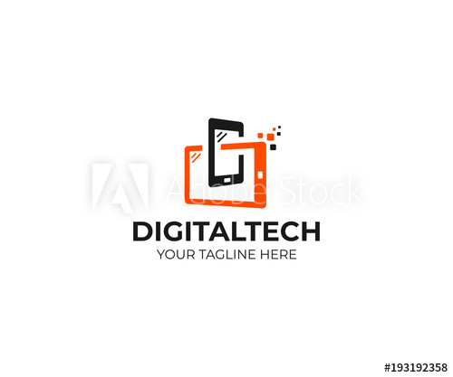 500x417 Digital Technology Logo Template. Mobile Phone And Tablet Vector