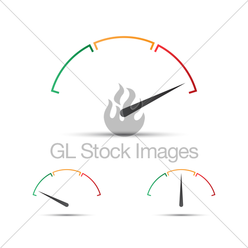 500x500 Set Of Simple Vector Tachometer With Indicator In Green, Gl