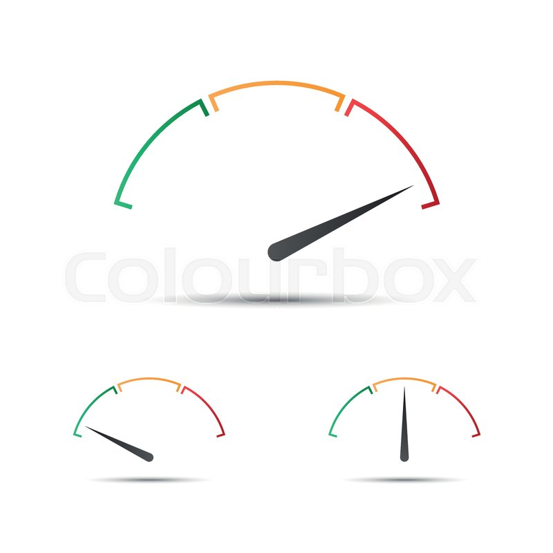 800x800 Set Of Simple Vector Tachometer With Indicator In Green, Yellow