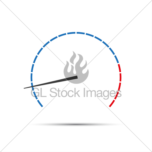 500x500 Simple Vector Tachometer With Indicator, Speedometer Icon... Gl
