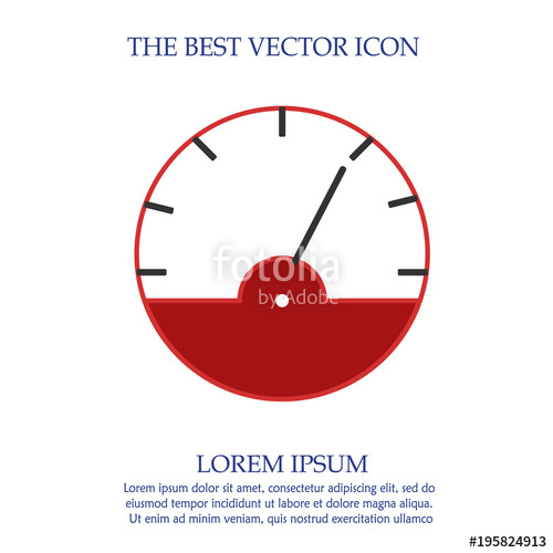 500x500 Tachometer Vector Icon Eps 10. Speedometer Illustration. Stock